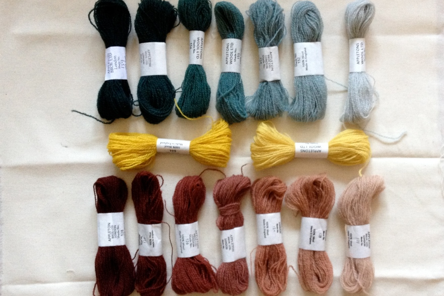 colour palate, appletons crewel wools