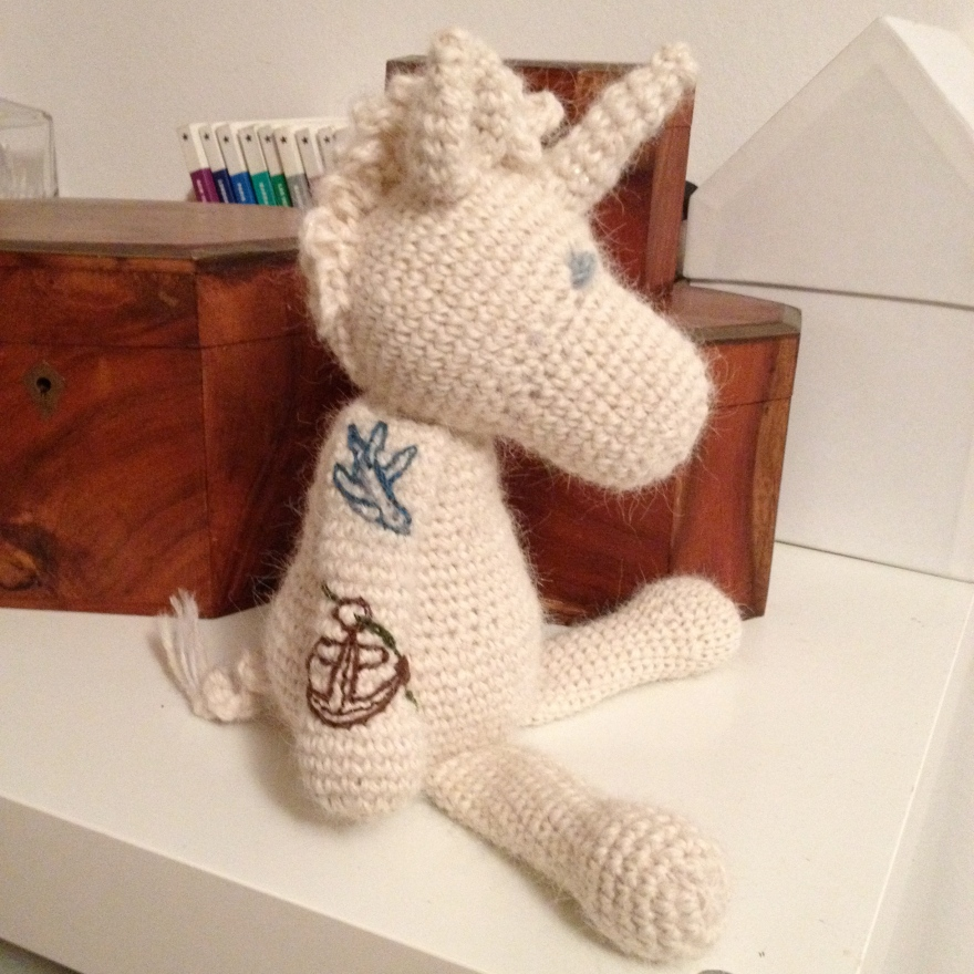 embroidery tattooed unicorn - right