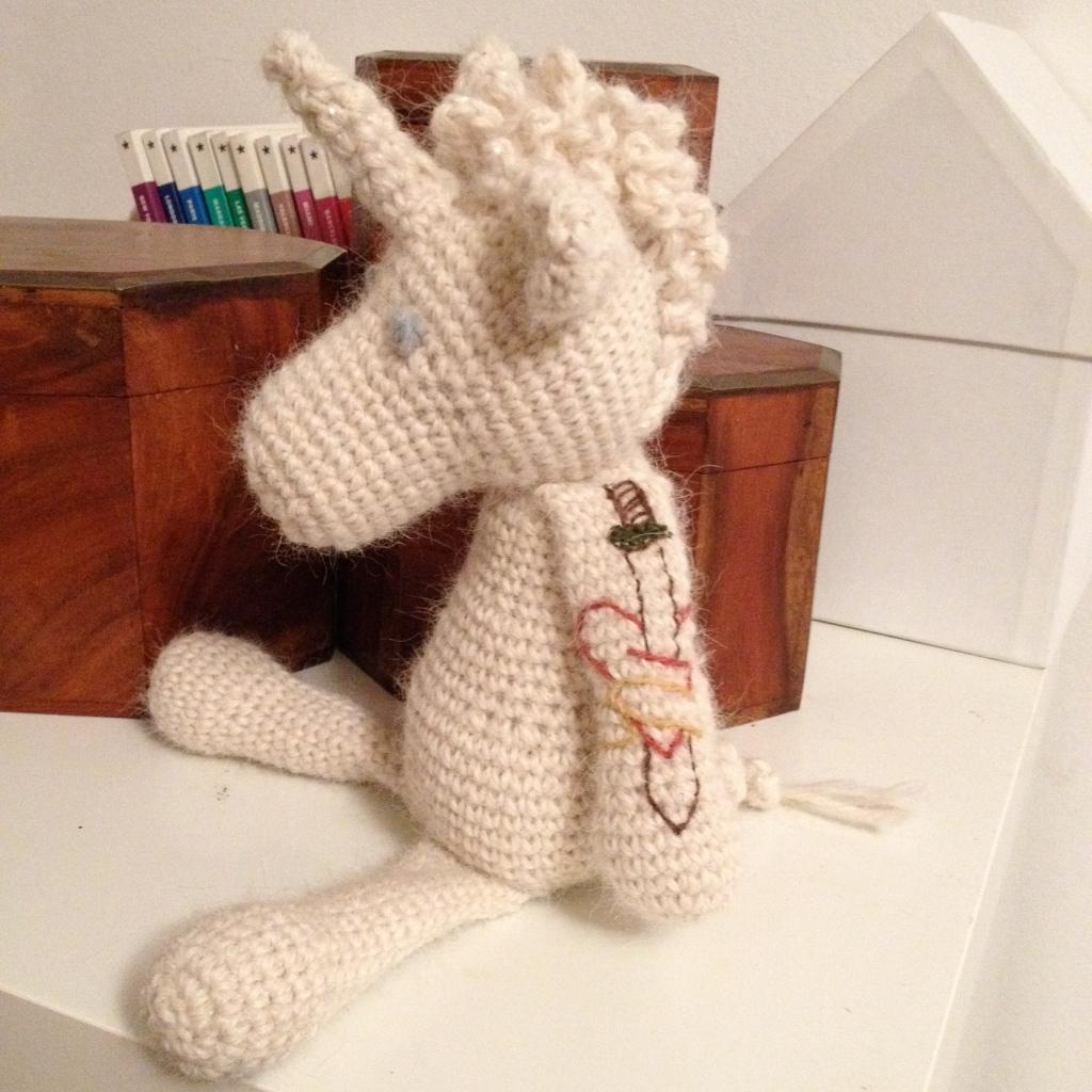 embroidered tattoo unicorn - left