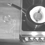 wax melting, jar waiting, wick prepared