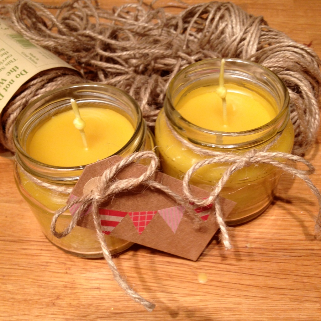 recycled jar beeswax candles