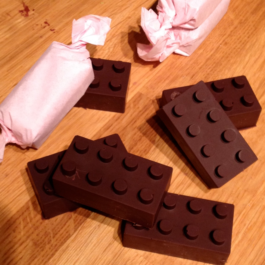 lego shaped gingerbread truffles
