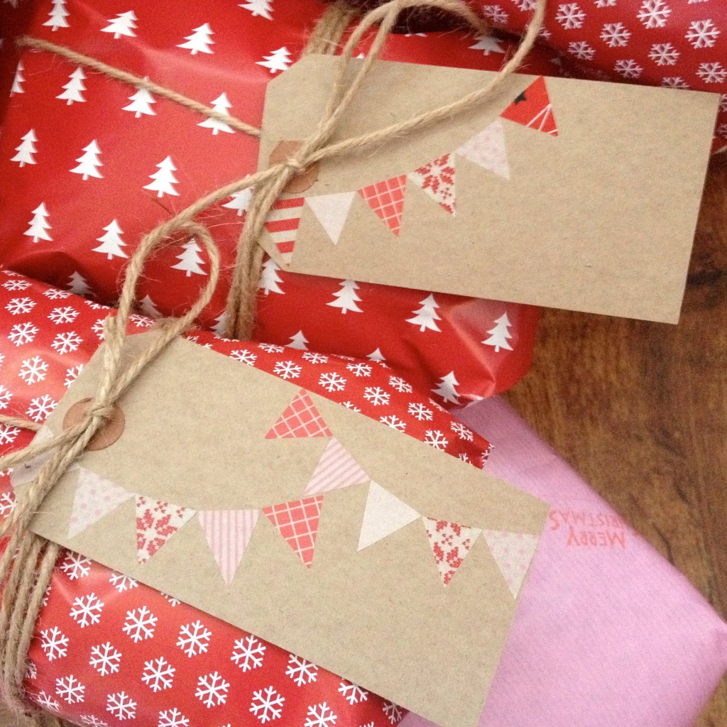 christmas wash tape bunting tags