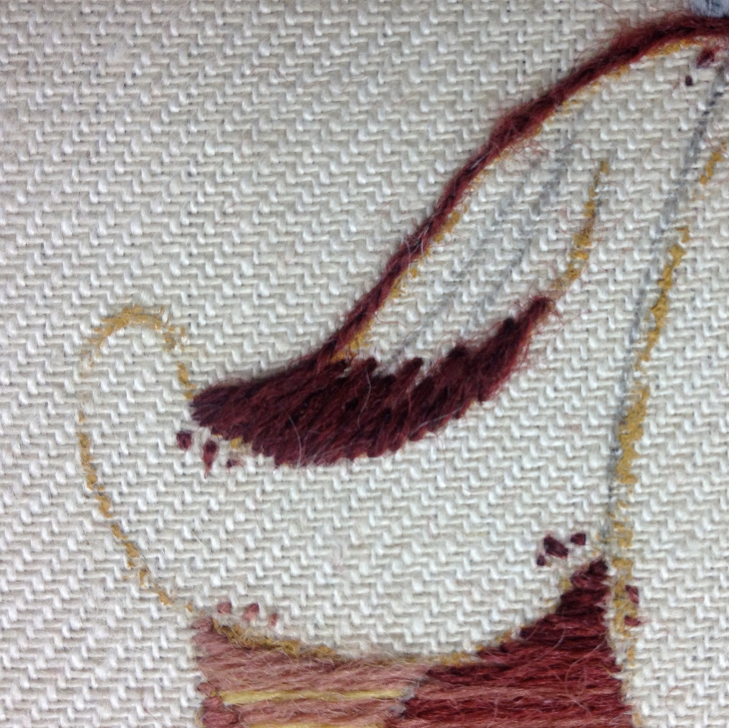 long and short crewelwork embroidery