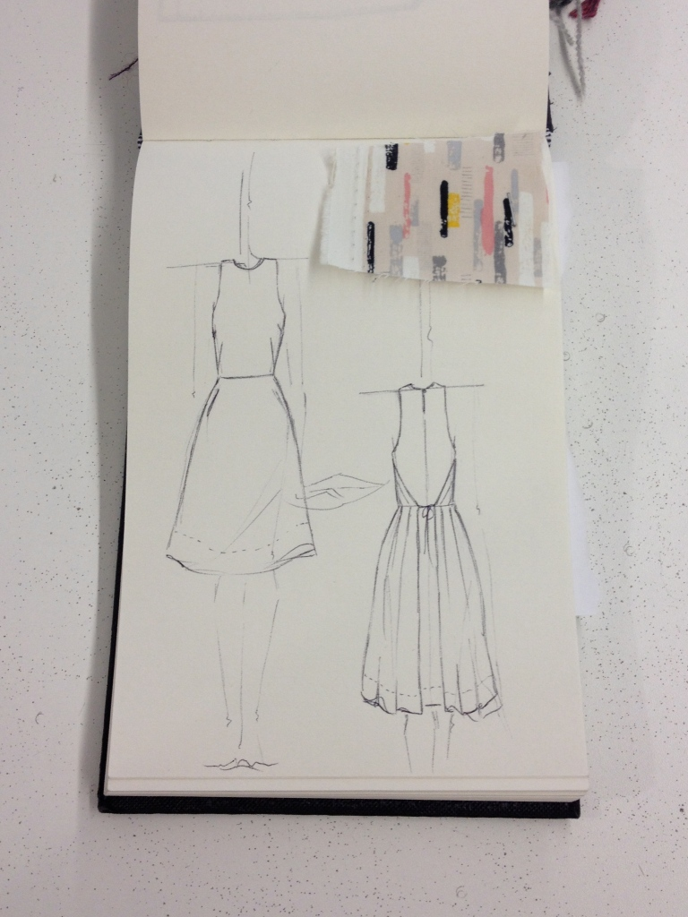 rough sketch double wrapping dress