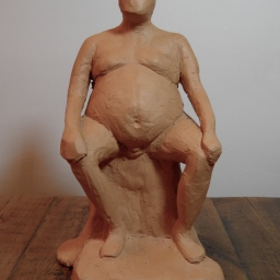 sculpture from life – seated man