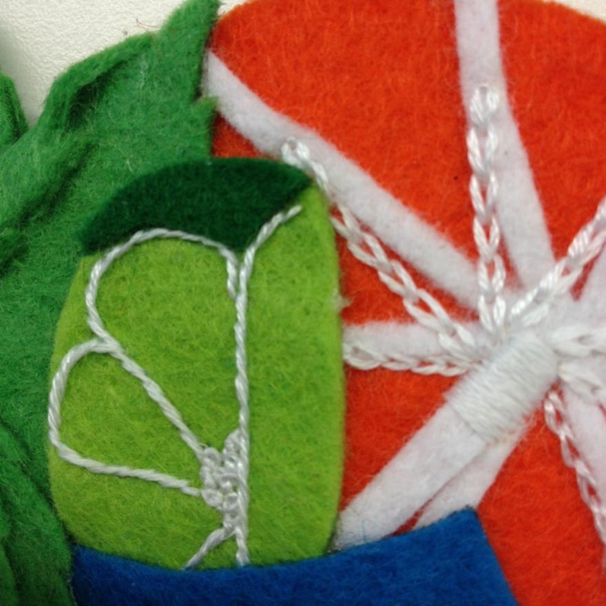 stem stitch line and chain stitch umbrella
