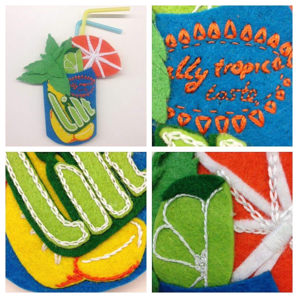 embroidered felt brooch, Lilt coctail can