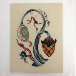 Completed embroidery! Jacobean Crewelwork at the Royal School of Needlework