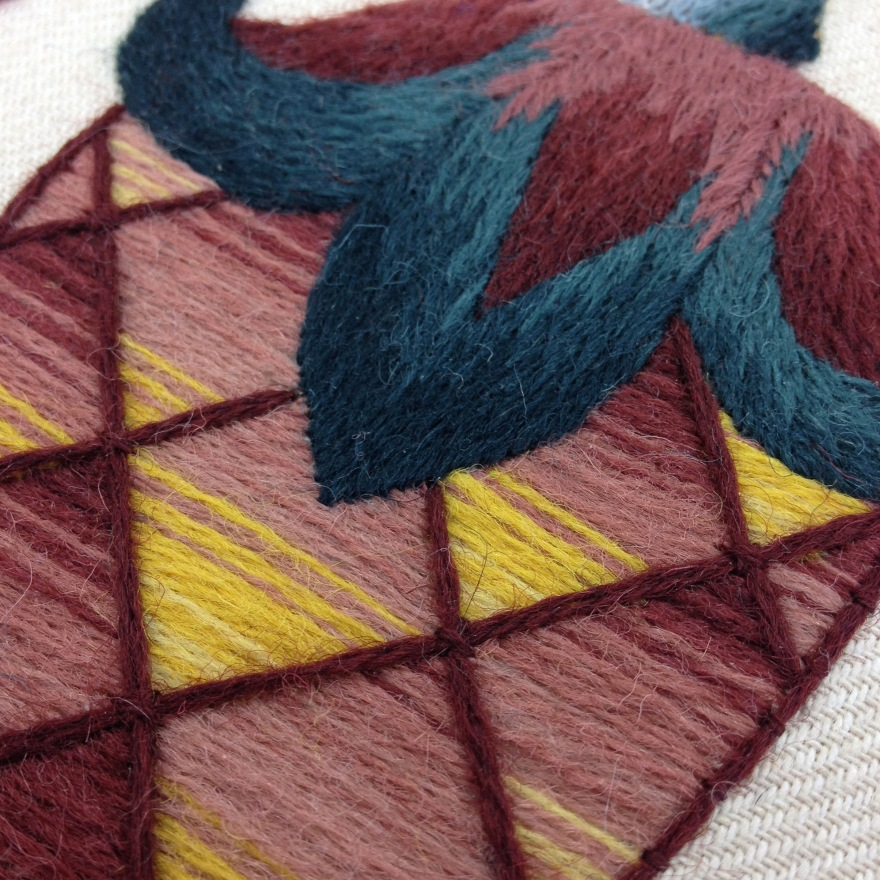 jacobean crewelwork berry detail
