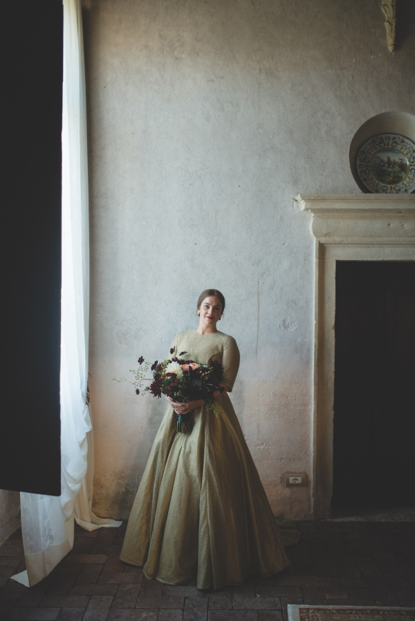 bespoke gold wedding dress country italian wedding